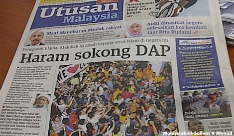Utusan front page 8 Aug 2012