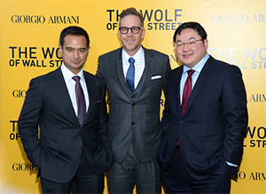 Riza Aziz, Joey Mcfarl and Jho Low at the launch of Wolf Of Wall Street