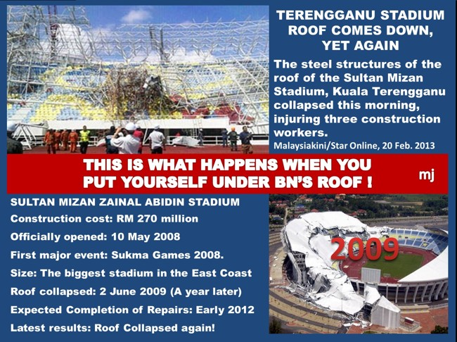 Terengganu Stadium Roof Collapses Again by Martin Jalleh