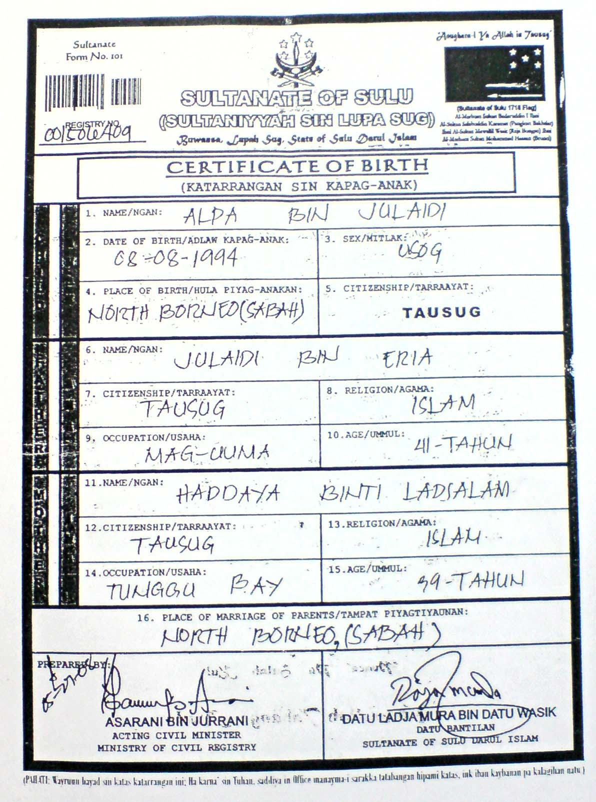 Sultanate of sulu north borneosabah issuing birth certificates sultante sulu certificate of birth aiddatafo Image collections