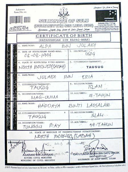Sultante Sulu Certificate of Birth