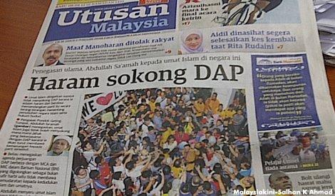 Utusan front page 8 Aug 2012